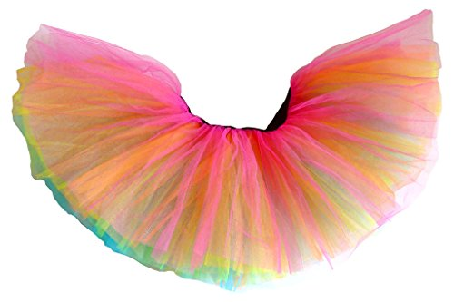 af89140a4a A poofy running rainbow tutu with 5 layers of tulle mesh that stick out to  the sides with a short 10