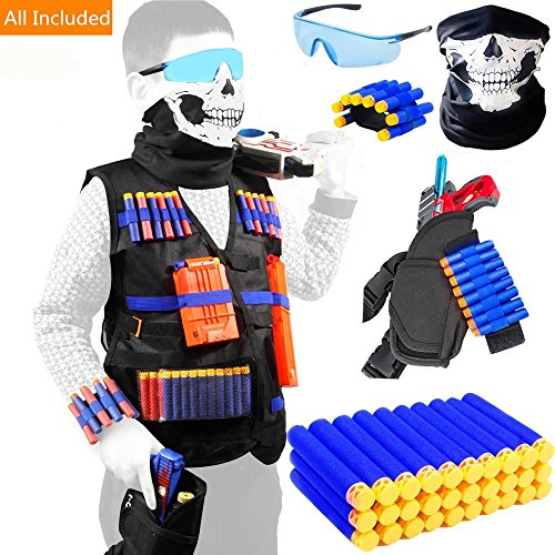 Kids Tactical Vest with 20 Pcs Foam Refill Darts for Nerf Guns N-str.