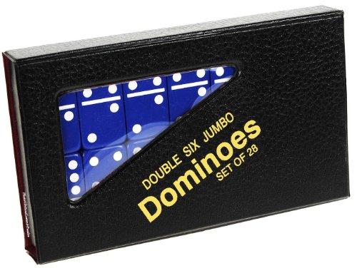 Dominoes Jumbo Black With White Pips Double Six Set Of