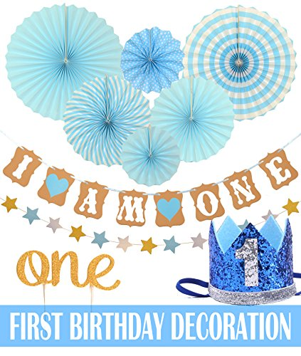Meant2ToBe FIRST BIRTHDAY DECORATION SET FOR BOY 1st Baby Boy Birthday Party Blue Hat Crown Circle Dots Paper Garland Cake Topper One Banner
